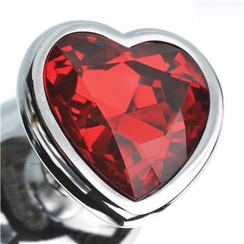 three hearts gem anal plug set close up of heart shaped gem