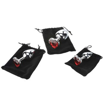 three hearts gem anal plug set with storage bags