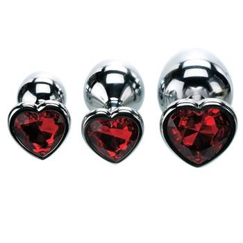 three hearts gem anal plug set with gem shapes lined up