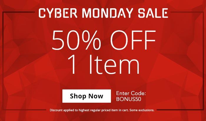 Cyber Monday Sale! Use Code BONUS50 For 50% Off 1 Item!