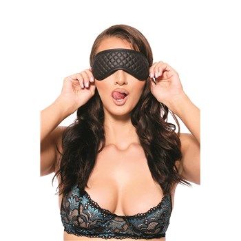 Eve's Fetish Dreams Blindfold Model Wearing with Tongue Stuck Out