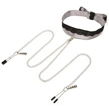 Fifty Shades of Grey Play Nice Satin and Lace Collar & Nipple Clamps Product Shot