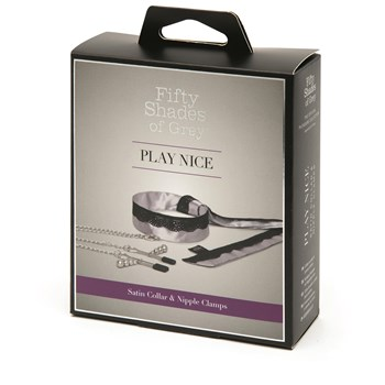 Fifty Shades of Grey Play Nice Satin and Lace Collar & Nipple Clamps Packaging