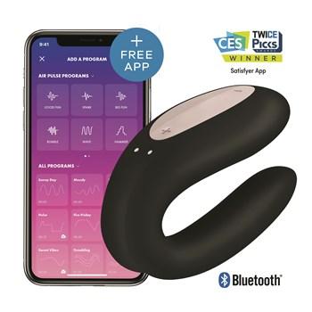 Satisfyer Double Joy Partner Vibrator Product Shot With App - Black