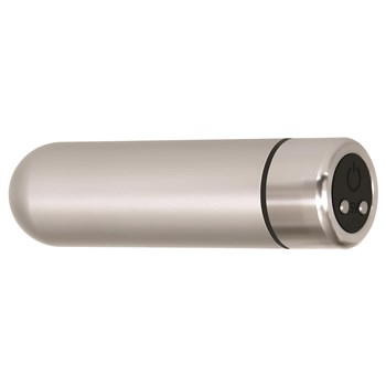 Eve's Rechargeable Silver Metal Bullet Laying On Side