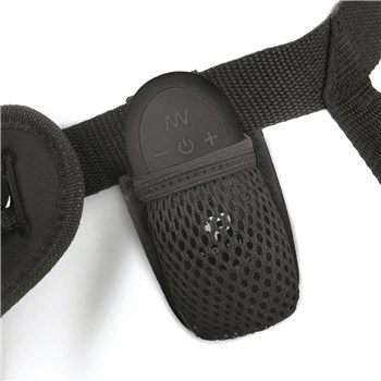 Pegasus 6.5 Inch Vibrating Dildo Harness Set Showing Where Remote is Placed in Harness