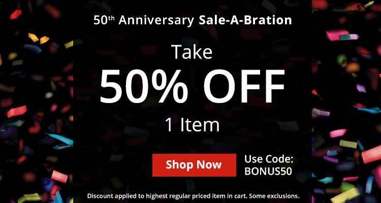 Use Code BONUS50 For 50% Off 1 Item!