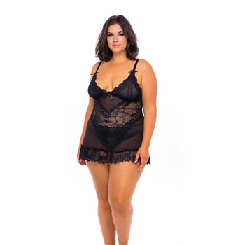 Valentine Lace Babydoll front shot queen front 1 black
