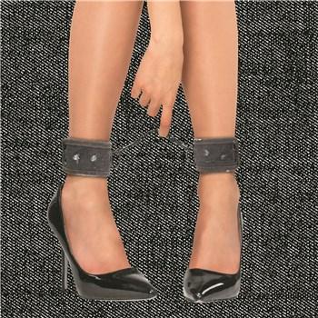 Denim Bondage Kit - Model Wearing Ankle Cuffs