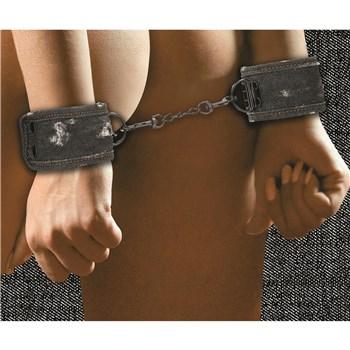 Denim Bondage Kit - Model Wearing Wrist Cuffs