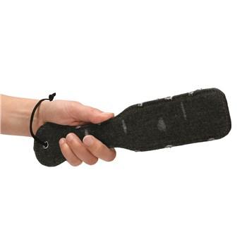 Denim Bondage Kit - Hand Shot With Paddle