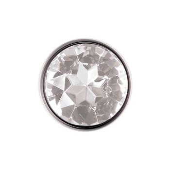 metal anal plug - clear gem